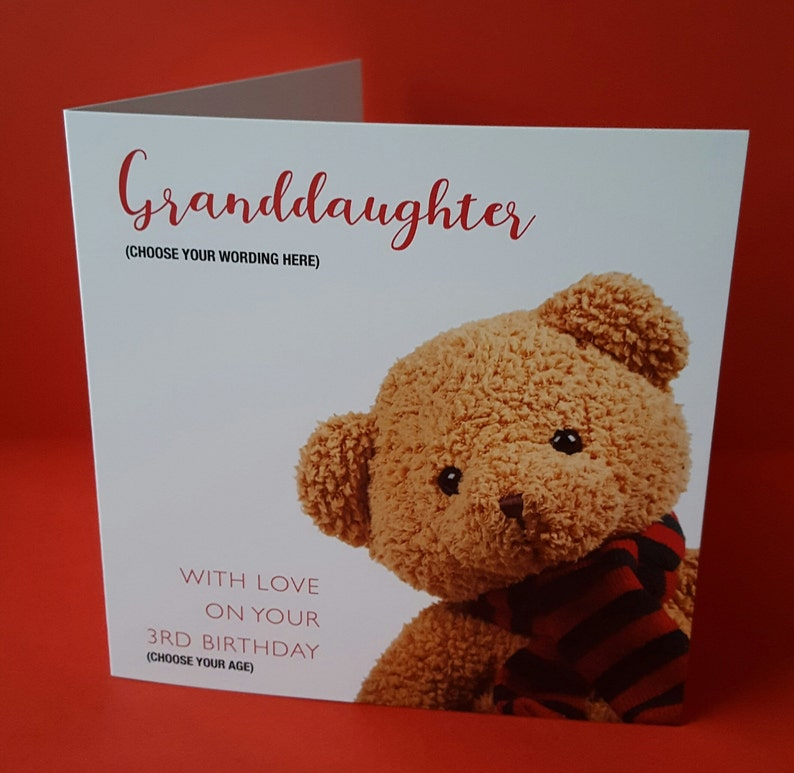 Teddy Bear Birthday Card Son Daughter Brother Sister