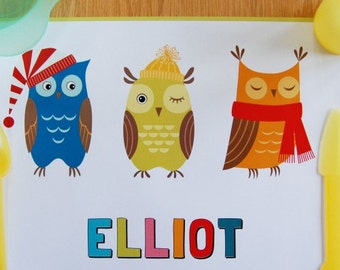 Personalised Owls Paper Placemat Birthday Party