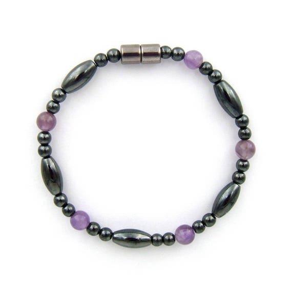 Men/' Womans CLASP Magnetic Hematite BRACELET ANKLET w Purple Amethyst QUICK SHIP