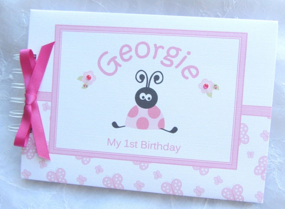 Personalised Babys 1st First Birthday Guest Book Etsy