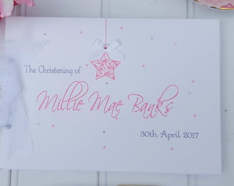 PERSONALISED STAR Christening - Naming Day- Baby - Guestbook/ Scrapbook/ Album / BOXED