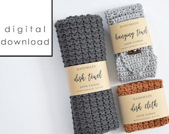 Handmade Dish Set Wrap Labels - PDF Digital Download
