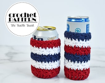 All Star Can Cozy Crochet Pattern - 12oz Regular Can and Skinny Can Holder Crochet Pattern - PDF Digital Download