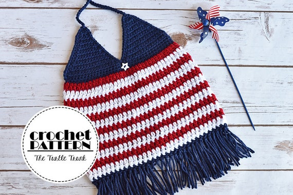 Digital Download Only Girls Crochet Top Pattern Red White Etsy