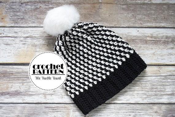 Digital Download Crochet Adult Beanie Pattern Striped Beanie  c6b2bced994