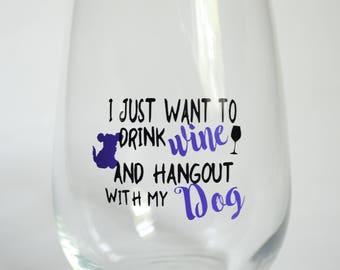 Wine Glass, Stemless Wineglass, Dog Lover Wine Glass, Dog Lover Gift, Housewarming Gift, Christmas Gift, Wine Lover, Dog, Wine, Wine Drinker