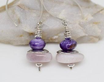 Small Cloud Mountain Turquoise Earrings Sleepers Earrings for Teens Open Hoop Gemstone Earrings MahiDesigns1 Minimalist Threader