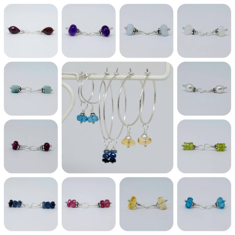 Earring Dangles Sterling Silver Birthstone Charms Necklace Charms June Birthstone Rainbow Moonstone Charm Set White Gemstone Charm Set