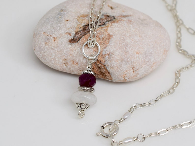 Rainbow Moonstone and Ruby Gemstone Pendant Red and White Sterling Silver Pendant MahiDesigns1 June July Birthstone Necklace Pendant