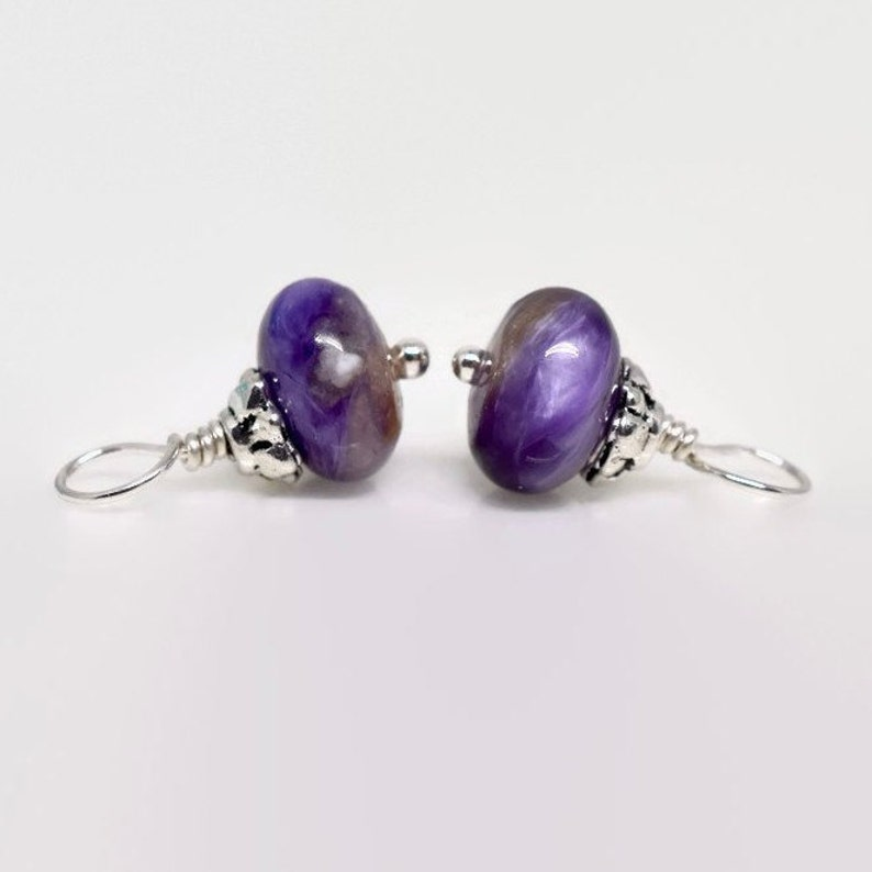 Charoite Charm Set Purple Gemstone Charms Hoop Earring Charms Interchangeable Necklace Charms 8mm Gemstone Earring Charms Qty: 2
