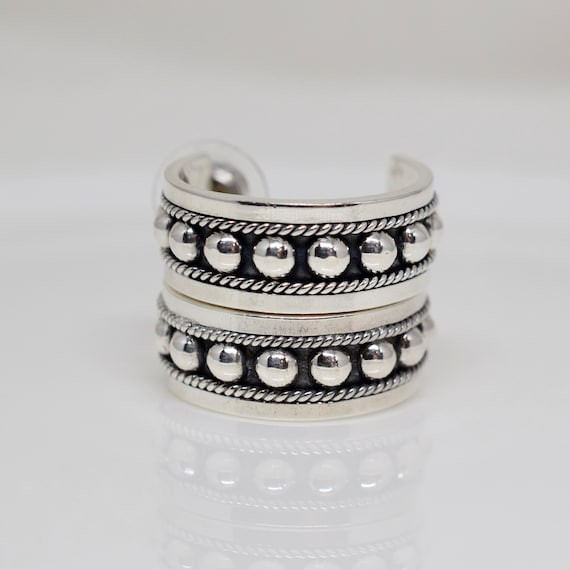 Vintage Mexican Half Hoop Earrings, Sterling Silv… - image 3