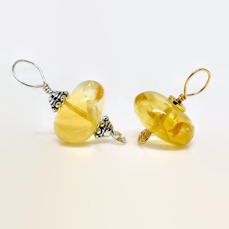 Yellow Gemstone Pendant Interchangeable Pendant Cluster Necklace Charms Citrine Birthstone Pendant in Silver OR Gold November Birthday