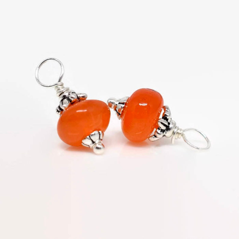 Pair of Carnelian Gemstone Charms Orange and Silver Sterling Silver Earring Gemstone Dangles Bracelet or Necklace Charms,