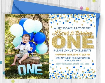 1st birthday invitations boy etsy one birthday gold and blue confetti 1st birthday invitationboy birthday invitationgold glitter invitation a little cake a lot of fun filmwisefo