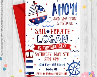 Ahoy Invitation Nautical Birthday Party Navy Matey Printable Sailor Anchor