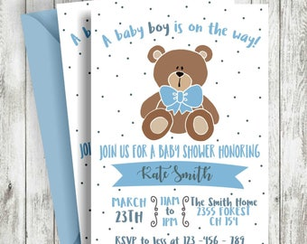Teddy bear invite etsy teddy bear baby shower invitation baby nursery blue and brown bear invitation bear baby shower baby boy shower filmwisefo