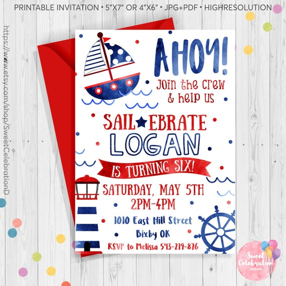 Ahoy Invitation Nautical Birthday
