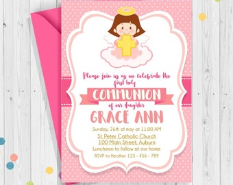 First Holy Comunnion Invitation, Our Daughter Communion, Pink Invitation, Angel First  Holy Communion Printable Invitations, Girl Communion