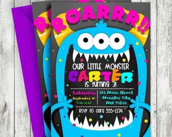 Monster Birthday Invitation, Little Monster Invitation, Monster Party Invitation, Monster Birthday, Personalized, Printable
