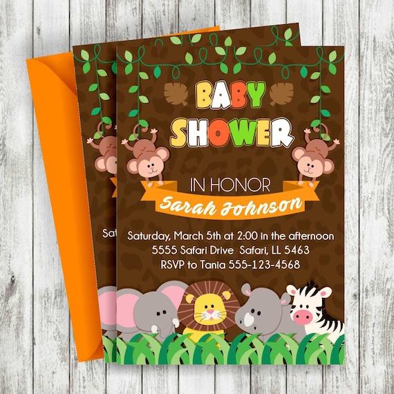 Baby-Dusche-Safari-Einladung Safari-EinladungBaby-Dusche   Etsy