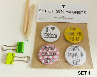 Set Of Gin Badges, Gin Lovers Gift, Gifts for Gin Enthusiasts, Gin themed Gift, Magnets