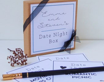 Date Night Box, Date Night Ideas, Date Night Cards, First Anniversary Gift, Paper Anniversary, For Husband, Wife, Girlfriend, Boyfriend