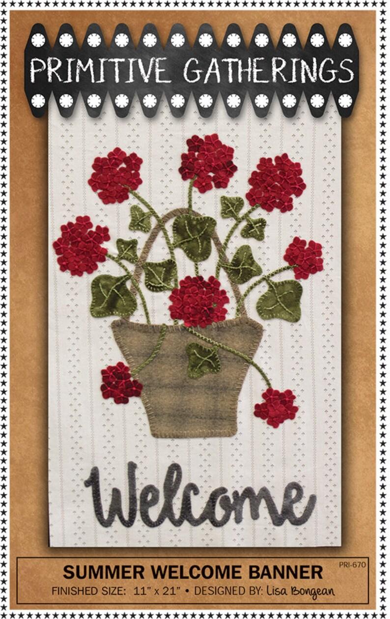 PRI 670  Summer Welcome Banner Kit  Primitive Gatherings  Wool