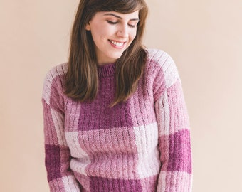 d4f57a71 Knitting Pattern Gingham Pullover Sweater pdf instant digital download