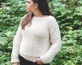 6213157be Simple KNIT Sweater PATTERN pdf instant download garter stitch