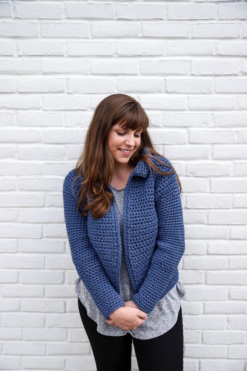 Crochet Pattern Jean Jacket Cardigan Crochet Sweater Pattern image 0