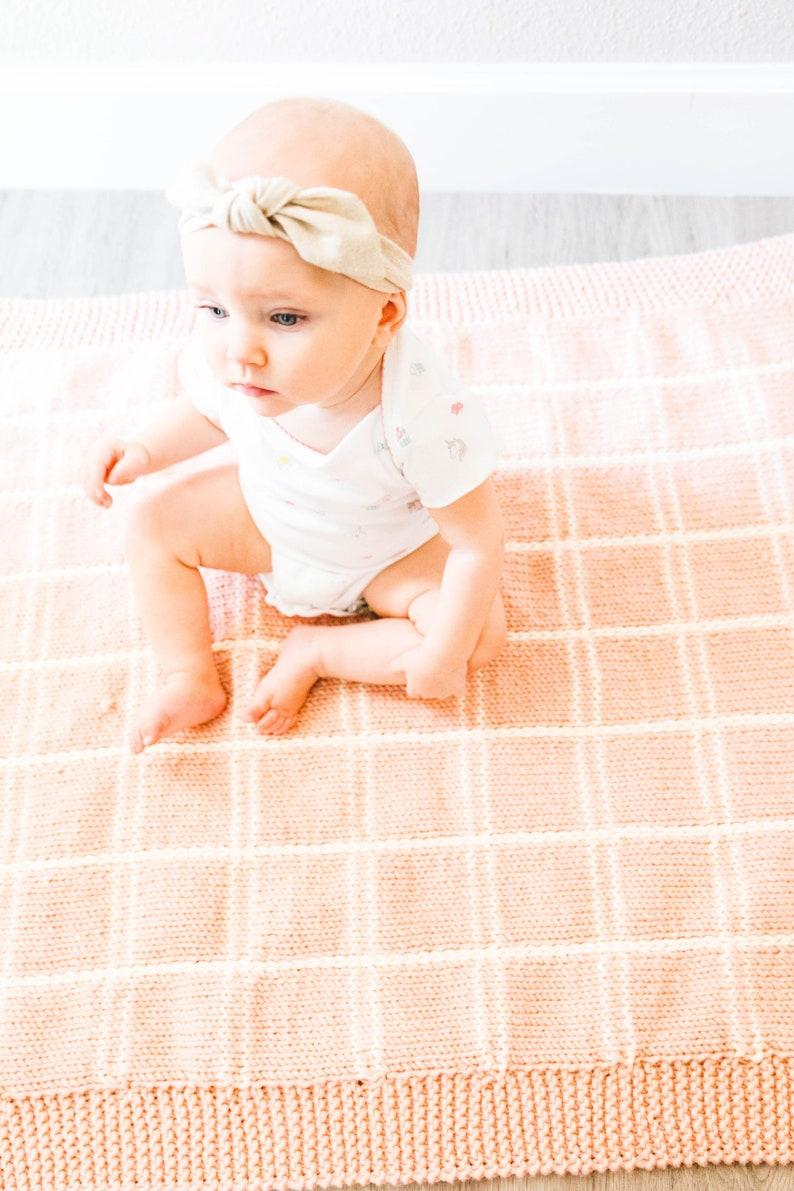 Knitting Pattern Plaid Baby Blanket PDF instant digital image 0
