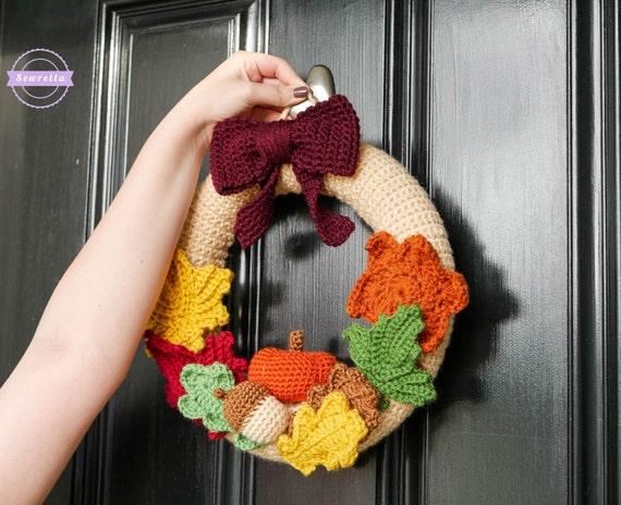 Mornings Of Autumn Crochet Wreath Pattern Pdf Instant Digital Etsy