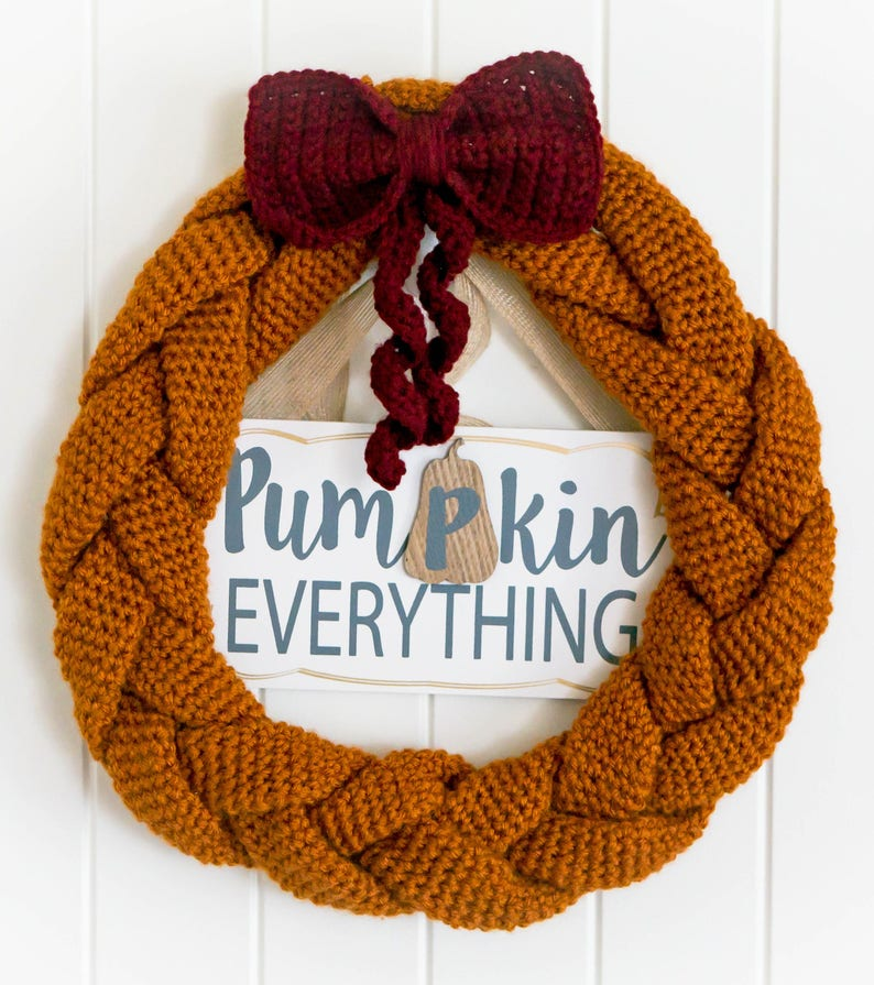 Crochet Braided Pumpkin Wreath PATTERN pdf instant digital image 0