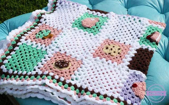Crochet Cherry Pie Granny Square Pattern Bake Shop Blanket Etsy