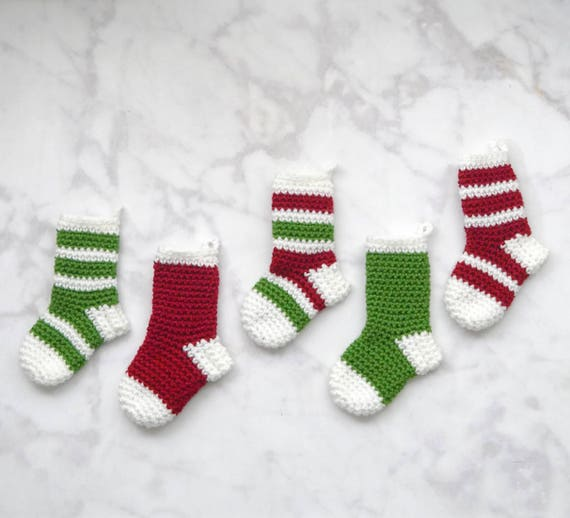 Crochet Christmas Mini Stockings Pattern Pdf Instant Digital Etsy