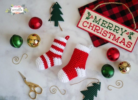 Crochet Mini Stocking Christmas Ornament Pattern Pdf Instant Etsy