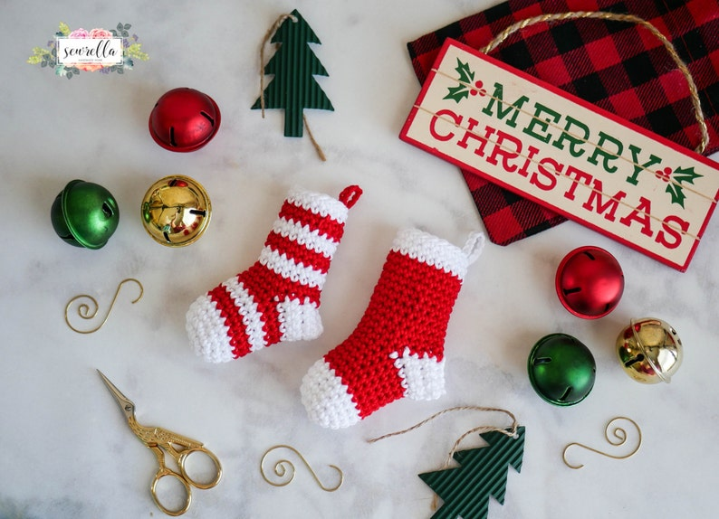 Crochet Mini Stocking Christmas Ornament Pattern pdf instant image 0