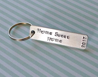 New Home Keychain, Home Sweet Home, Personalized Keychain, Custom Keychain, Stamped Keychain, First Home Gift, New Home Gift, Housewarming