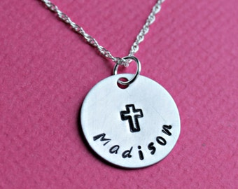 First Communion Necklace, Confirmation Necklace, Name and Cross, Religious Necklace, Girls Necklace, Cross Necklace, Missionary Necklace