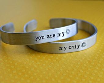 You Are My Sunshine My Only Sunshine Bracelet Set Mother Daughter Set Best Friend Bracelets Mommy and Me