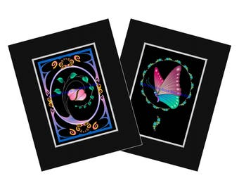 DELICATE BALANCE - Set of 2 Midnight Edition Art Prints - delightful Butterfly and 2 Hearts entwined - Ready to FRAME & hang!