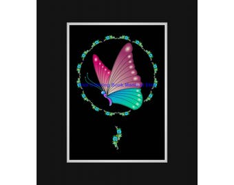DELICATE BALANCE #2 - Midnight Edition Art Print of delightful Butterfly suspended within a floral wreath - Ready to FRAME!
