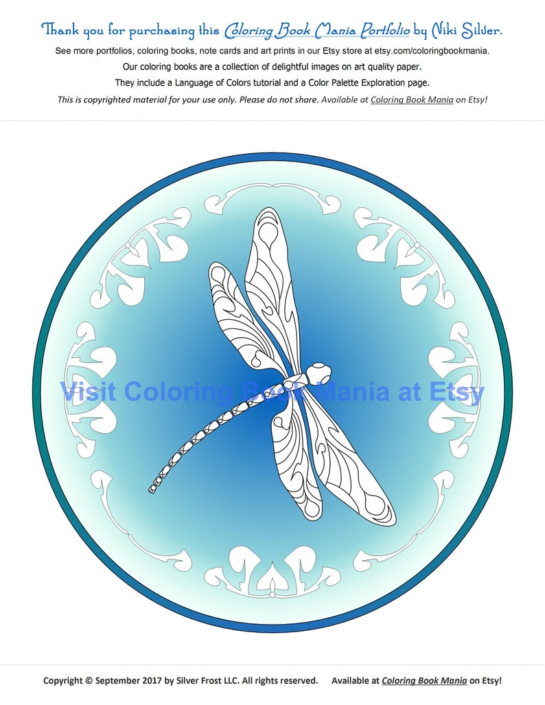 Dragonfly Coloring Page Digital Download Colored Background