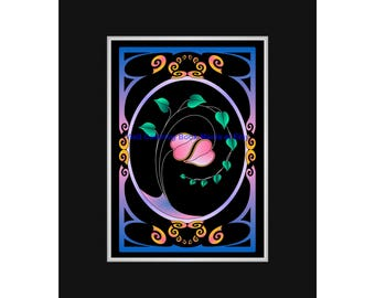 DELICATE BALANCE #1 - Midnight Edition Art Print - A pair of Hearts gently embrace while framed by a tendril of green leaves!