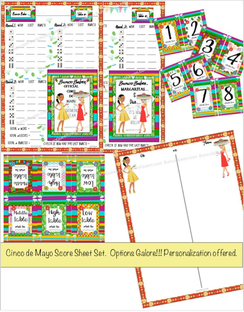 photograph about Bunco Tally Sheets Printable named Cinco de Mayo Bunco Ranking Card- Printable Rating Sheets, Tally Sheet and Matching Desk Figures. Bunco Babes Cinco de Mayo Consuming Personnel