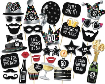 Printable 40th Birthday Photo Booth Props Party Props Etsy