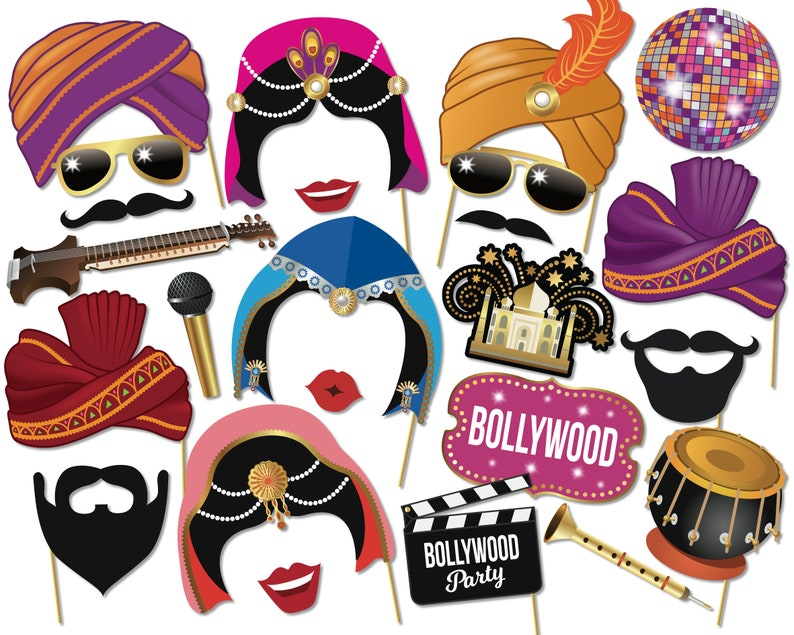 Bollywood Photo Booth Props Printable Party Props Etsy