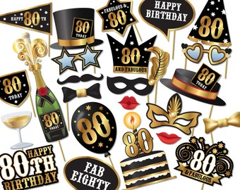 80th birthday Photo Booth props - Instant Download printable PDF. Eightieth birthday party Photo Booth supplies. Eighty Today - 0158