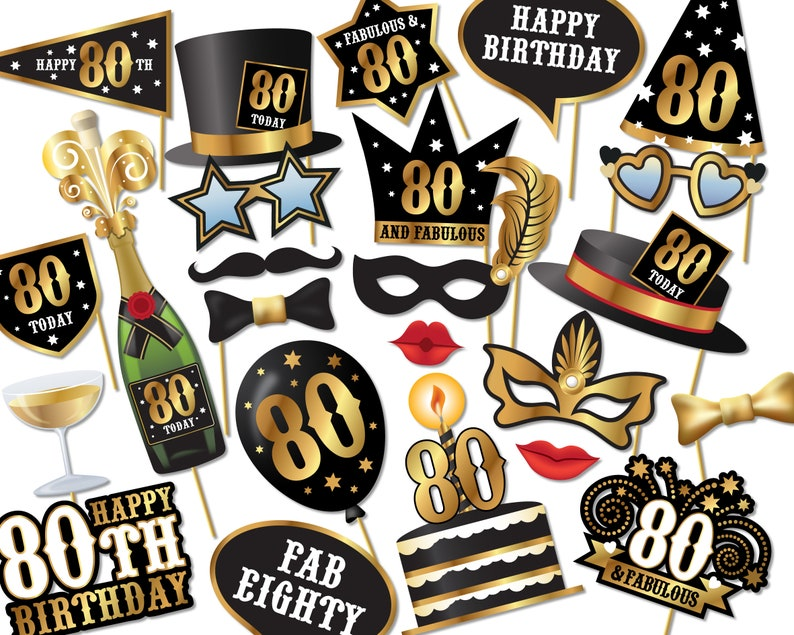 80th Birthday Photo Booth Props Instant Download Printable Etsy