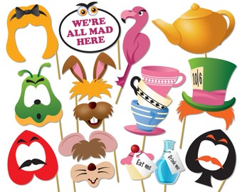 Printable Alice in wonderland party photo booth props set. Mad Hatters Tea Party Photo Booth - 0220